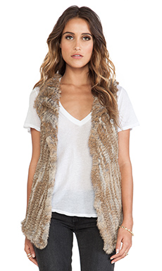Wish Temper Rabbit Fur Vest in Stone