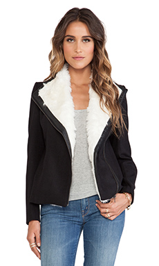 Wish Milano Jacket with Faux Fur trim in Black