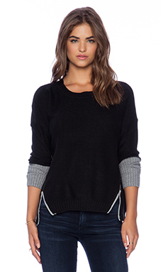 Wilde Heart Two Toned Zip Knit in Black