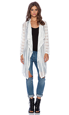Wilde Heart Weekender Trench Cardigan in White