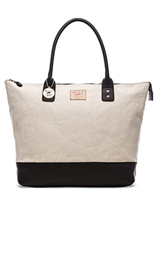 WILL Leather Goods Getaway Tote in Natural & Black