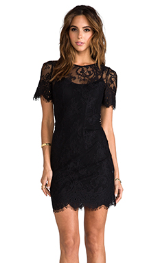 WHITE SUEDE Evette Lace Dress with Slip in Black