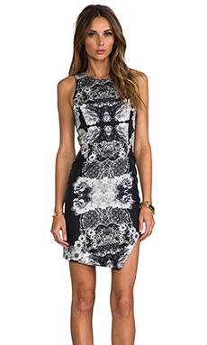 WHITE SUEDE Bonded Cut Dress in Shadow Floral