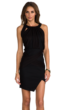 WHITE SUEDE Over And Under Dress in Black