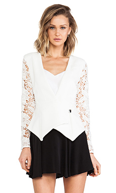 WHITE SUEDE 80's Shoulder Jacket in White