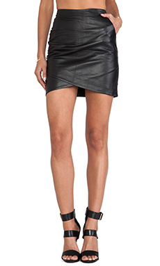 WHITE SUEDE Curved Leather Skirt in Black
