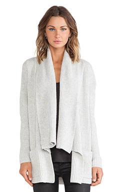 White + Warren Rib Cardigan in Husky Heather