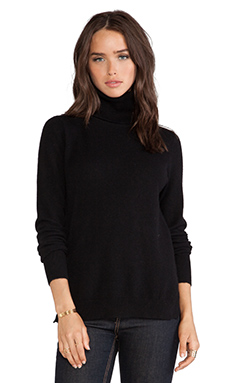 White + Warren Essential Turtleneck in Black