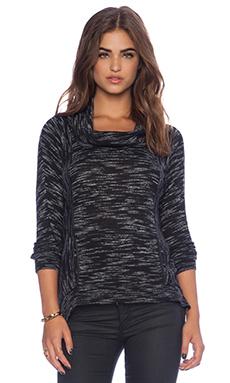White + Warren Pocket Popover Sweater in Black Marble