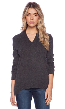 White + Warren Sharkbite V-Neck Sweater in Charcoal Heather