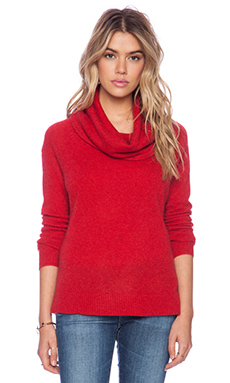 White + Warren Luxe Funnel Neck Sweater in Rouge