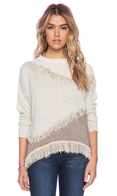White + Warren Fringe Intarsia Open Crew Sweater in Glacier Multi