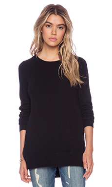 White + Warren Side Crossover Tunic in Black