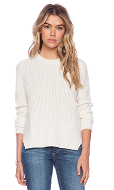 White + Warren Luce Multi Stitch Crew Neck Sweater in White