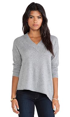 White + Warren Wide Trim V Neck Sweater in Nickel Heather