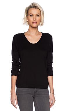 White + Warren Curved Hem U-Neck Sweater in Black