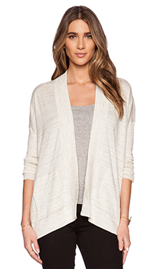 White + Warren Paneled Rib Cardigan in Tusk Heather