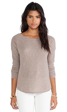 White + Warren Rickrack Slash Neck Sweater in Mocha Heather