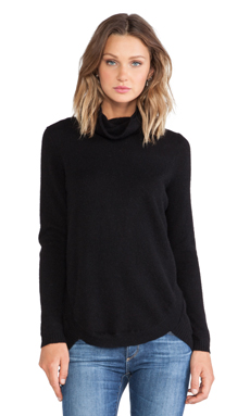 White + Warren Curved Hem Turtleneck in Black