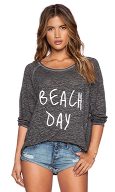 White + Warren Beach Day Tee in Black with White Letters