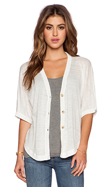 White + Warren Two Way Button V Neck Sweater in White