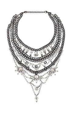 Xevana Draco Necklace in Gunmetal & Crystal
