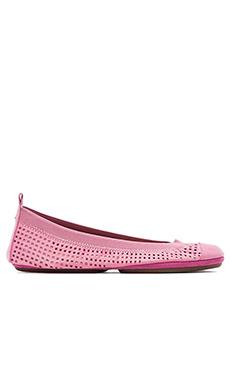 Yosi Samra Samantha Perforated Leather Flat in Pink Lemonade