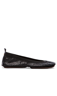 Yosi Samra Samara Embossed Crocodile Leather Fold Up Flat in Black