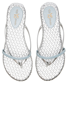 Yosi Samra River Burnished Woven Flip Flop in Silver