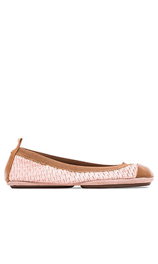 Yosi Samra Samantha Burnished Woven Flat in Ballet Pink