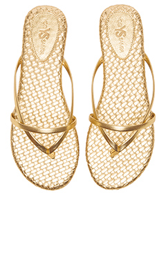 Yosi Samra River Burnished Woven Flip Flop in Pure Gold