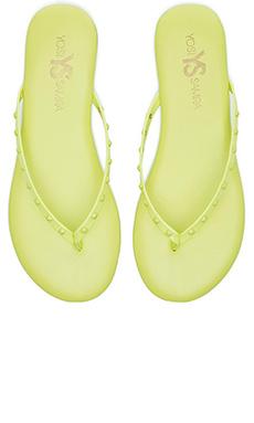 Yosi Samra Roee Tonal Stud Sandals in Limette