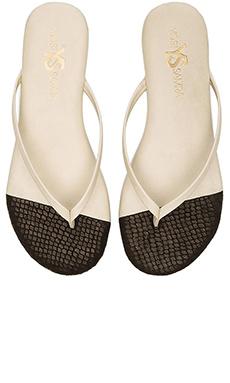 Yosi Samra Roee Cap 3D Snake Sandals in Biscotti & Black