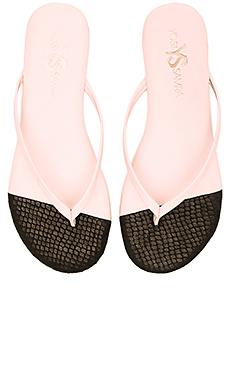 Yosi Samra Roee Cap 3D Snake Sandals in Powder Pink & Black