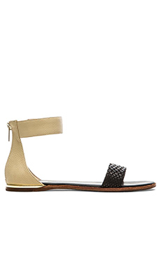 Yosi Samra Cambelle 3D Croco Sandals in Biscotti & Black