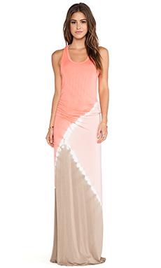 Young, Fabulous & Broke Hamptons Maxi Dress in Coral Tri Block