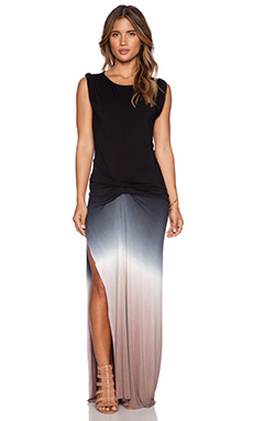 Young, Fabulous & Broke Bryton Maxi Dress in Black & Tan Ombre