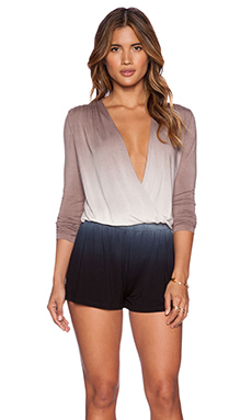 Young, Fabulous & Broke Howell Romper in Black & Tan Ombre