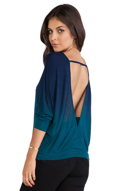 Young, Fabulous & Broke Swoon Top in Navy & Sea Ombre