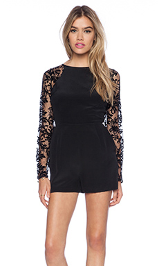 Yumi Kim Laced Up Romper in Black Lace