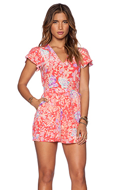 Yumi Kim Sienna Romper in Peach Flower Power