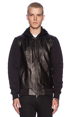 Zanerobe Detroit Hood in Black Leather