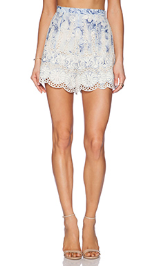 Zimmermann Confetti Scallop Flare Shorts in Blue Floral