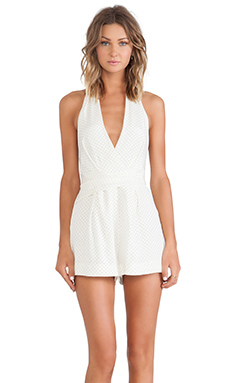 Zimmermann Backbeat Dot Wrap Playsuit in Pearl