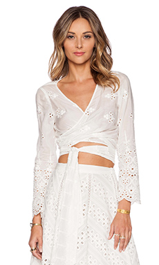 Zimmermann Gemma Embroidery Wrap Top in Ivory