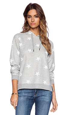 Zoe Karssen Stars All Over Hoodie in Grey Heather & Pirate Black