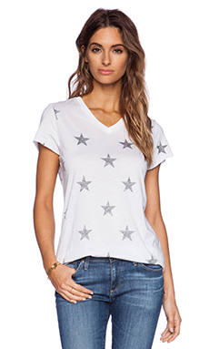Zoe Karssen Stars All Over Loose Fit V-Neck in Oprical White