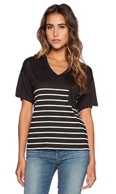Zoe Karssen Stripes Tee in Pirate Black