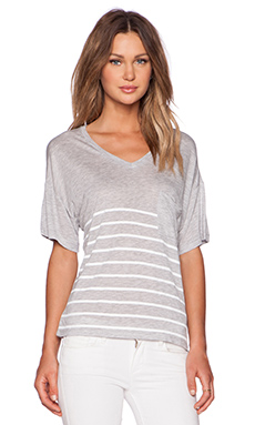 Zoe Karssen Stripe Box Fit V Neck Pocket Tee in Grey Heather & Optical White