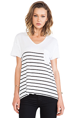 Zoe Karssen Dropped Sleeve Stripe Tee in Black